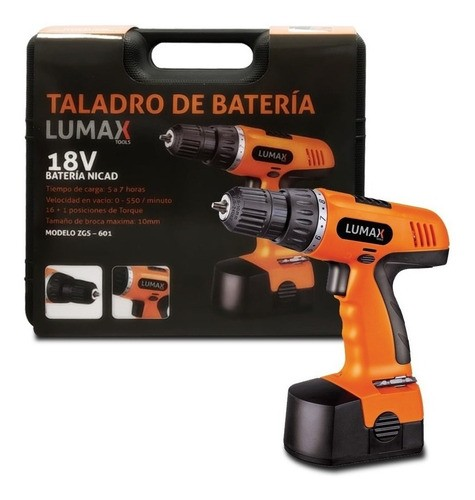 Taladro Atornillador Bateria 18v Lumax Con Maleta Premium