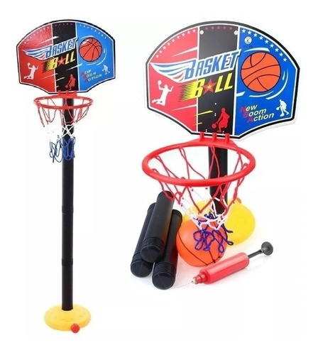 Set De Basketball Niños Aro + Pelota + Inflador + Red
