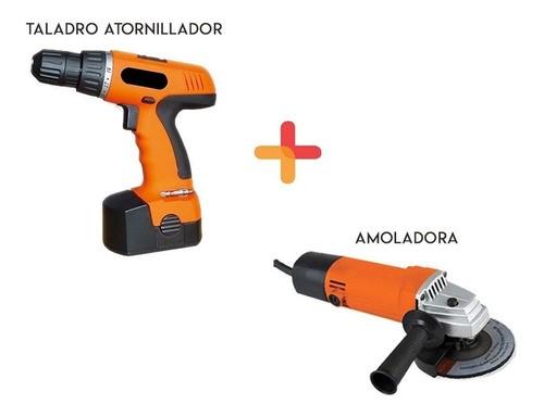 Kit Herramientas Taladro Atornillador A Batería + Amoladora