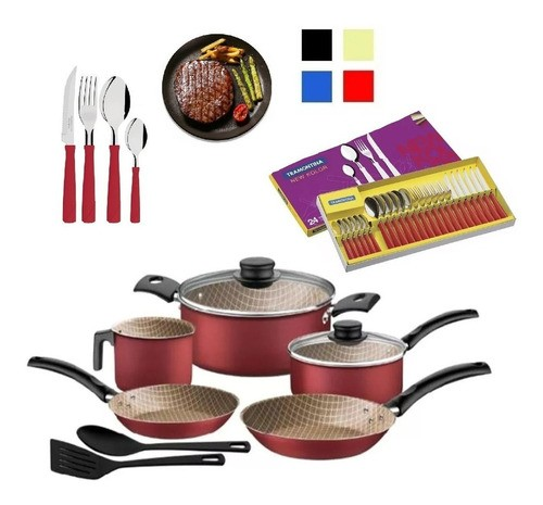 Juego Bateria Cocina Tramontina 9 Piezas + Cubiertos 24 Pzas