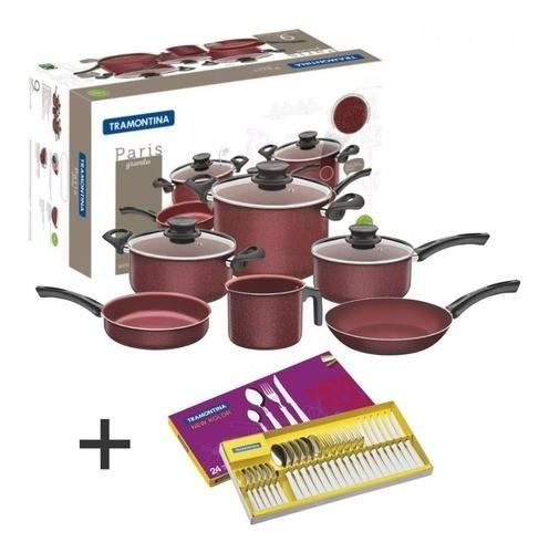 Bateria De Cocina 9pz. Tramontina Paris Rojo Nuevo Color