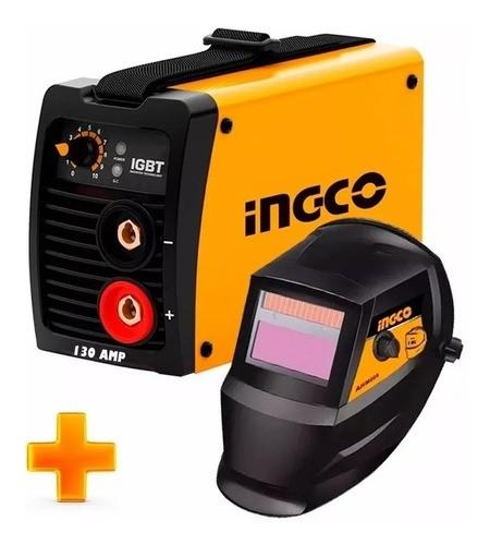 Soldadora Inverter Compacta Ingco Pro 130a Igbt Mma + Careta