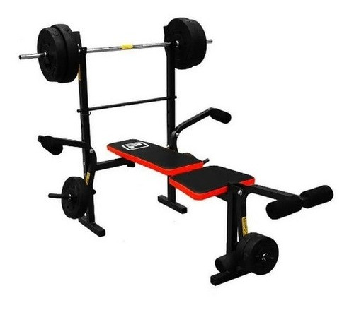 Gym Aparato Banco Pecho Piernas + Barra + 45kg Pesas  Regalo