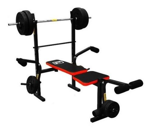 Gym Fitness Banco Pecho Piernas Barra + Pesas Regalo 45k