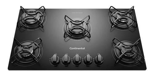 Anafe Continental 5h A Gas Mesada De Vidrio Negra