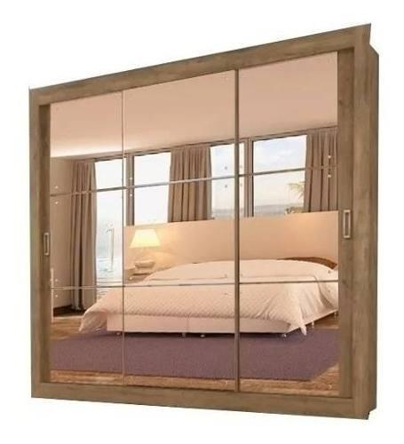 Ropero Placard Tres Puertas Corredizas + Espejo Dormitorio