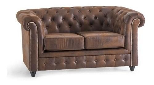 Sillon Sofa Living Chesterfield 2 Cuerpos Microfibra
