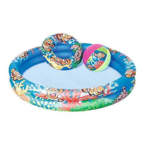 Piscina Con Aro Inflable Y Pelota Infantil