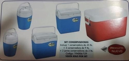 Set Cinco Conservadoras Térmicas Camping Playa Heladera