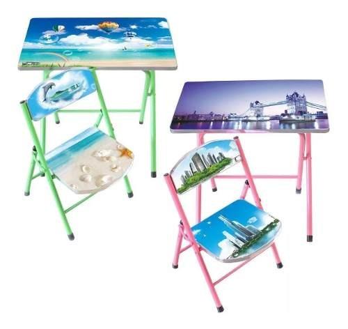 Niños Set Infantil Mesa Más 1 Silla Plegables Muebles
