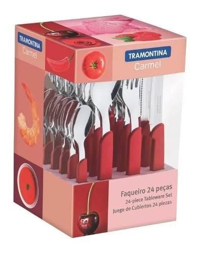Juego Cubiertos Rojo 24 Piezas - Tramontina