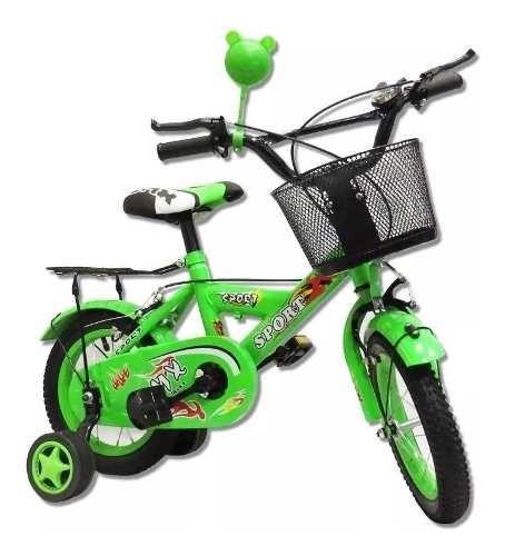Bicicleta Bici Para Niño Verde Rodado 12