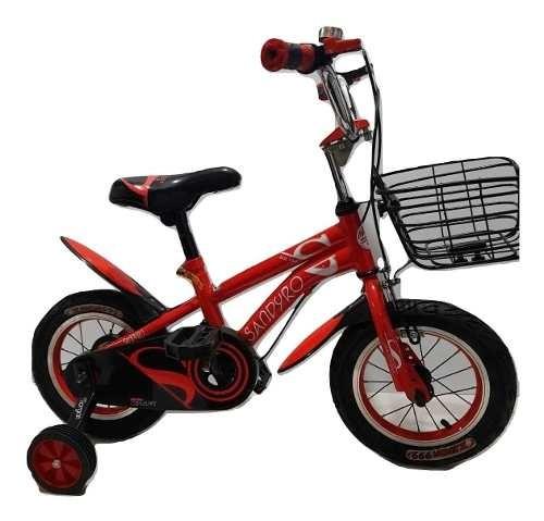 Bicicleta Bici Para Niño Negro/rojo- Rodado 12.