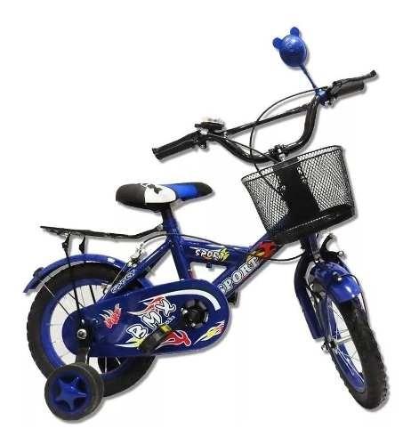 Bicicleta Bici Para Niño Azul Rodado 12nueva