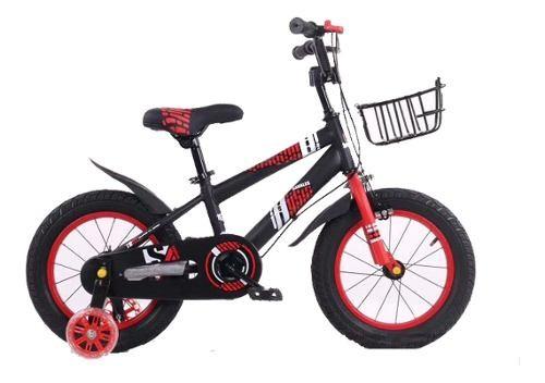 Bicicleta Para Niño Bici Negro/rojo- Rodado 12.