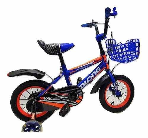 Bicicleta Bici Para Niño Azul/negro- Rodado 12