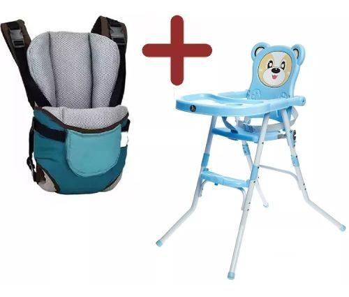 Silla De Comer Bebé Plegable Oso Azul Y Rosa + Marsupio